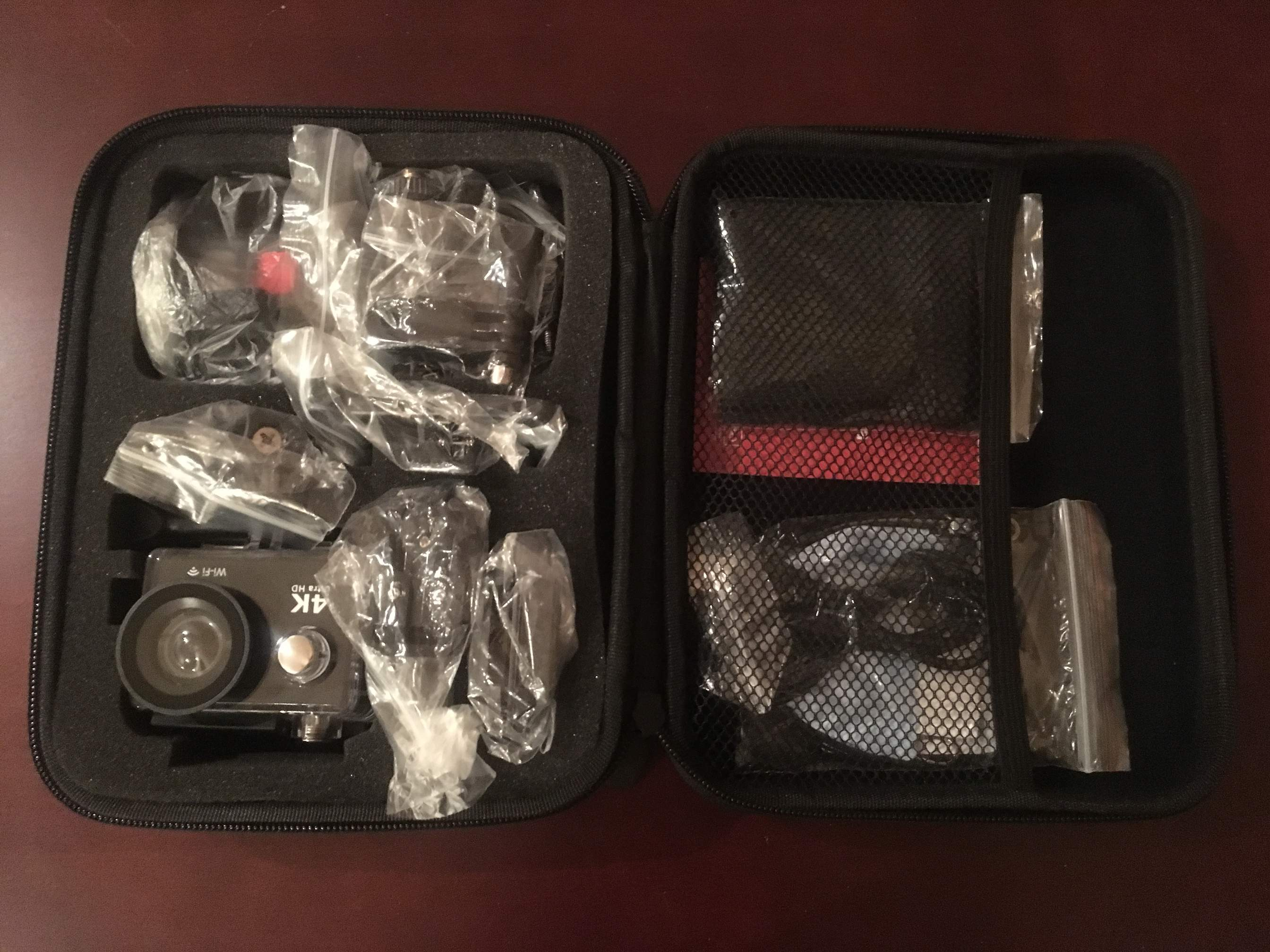 Greatever 4K action camera inside case